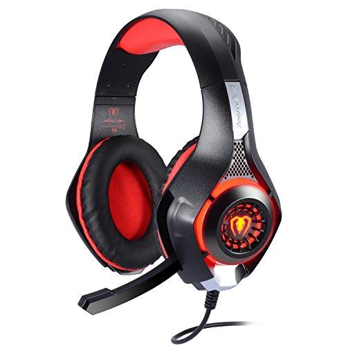 BlueFire Auriculares Gaming PS4, Cascos Gaming Ruido Reducción de Diademas Cerrados Profesional con Micrófono 3.5mm Compatible con PC Xbox One, PS4,Móvil(Rojo)