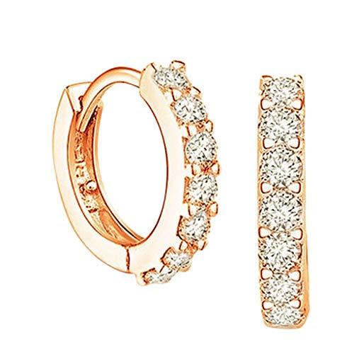 Silver Hoops Earrings for Women, 925 Sterling Silver Hinged Earrings with AAA Cubic Zirconia, Diameter 13mm Hypoallergenic Small Sleeper Hoops