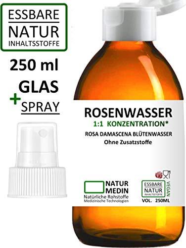 ROSENWASSER GLAS + SPRAY, LEBENSMITTEL-QUALITÄT, 100% naturrein, 1:1 Konzentration, Rosa damascena Blüttenwasser, essbar, ohne Zusatzstoffe, Glasflasche, 250-ml (+ Spray), nachhaltig