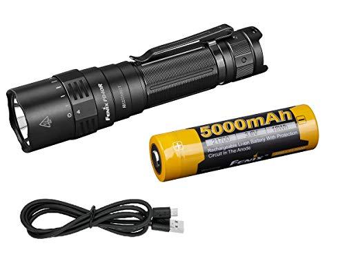 Fenix PD40R v2 LED-Taschenlampe, 3000 Lumen, mechanischer Drehschalter, USB-C, wiederaufladbar, inklusive 5000 mAh Akku und LumenTac Akkuhülle