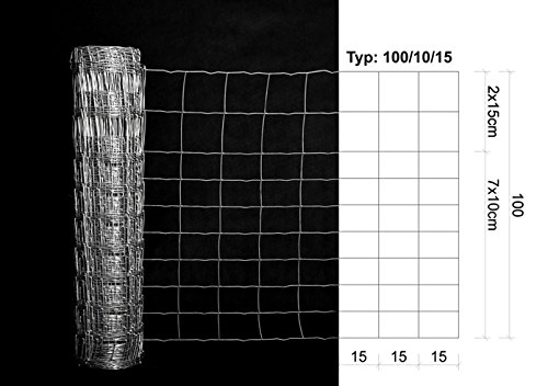 50m BEST4FORST Wildzaun Forstzaun Weidezaun Drahtzaun Knotengeflecht 100/10/15 - 2