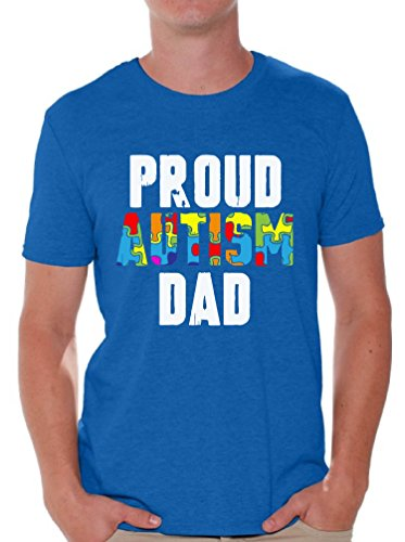 Awkward Styles Proud Autism Dad Shirts Autism Awareness Dad Gifts for Him Blue M