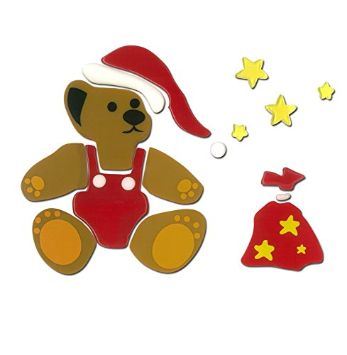 MagicGel Fensterbilder Weihnachten - Weihnachtsteddy mit Sternen (21 x 18 cm), Fensterdeko für das Basteln mit Kindern