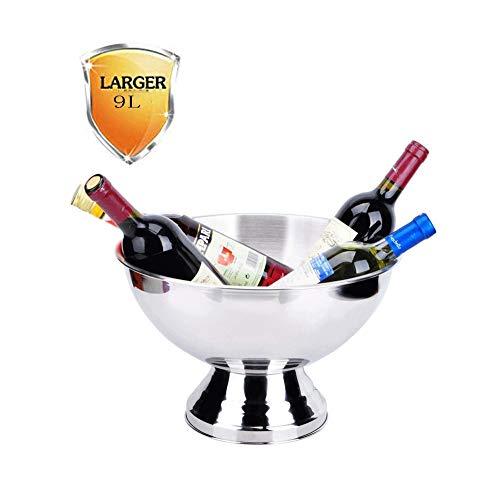 YFGQBCP Cubo de Hielo, Acero Inoxidable Champagne Basin 35cm Bar Ktv Vino Vino Blanco Ensalada de Cubo de Hielo Cubo de Bingo de Gran tamaño