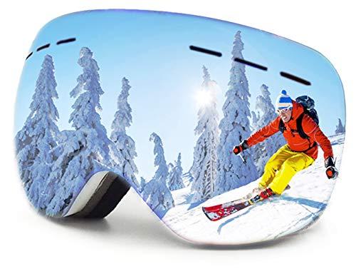 SkidglasöGon Otg SnowboardglasöGon SnöGlasöGon Utbytbar SfäRisk Lins Anti-Dimma Och Uv400-Skydd Och HjäLm Kompatibla GlasöGon FöR MäN Kvinnor Ungdomar SkidåKning (Vit – Grön Lins)