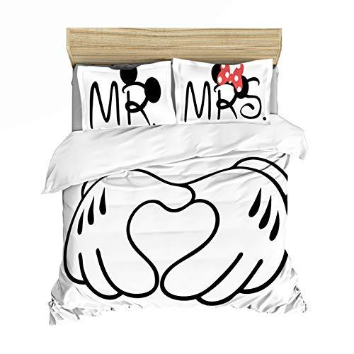 YZDM Disney Mickey & Minnie - Juego de cama con impresión digital 3D, microfibra, funda de edredón y funda de almohada, para dormitorio (c.200 x 200)