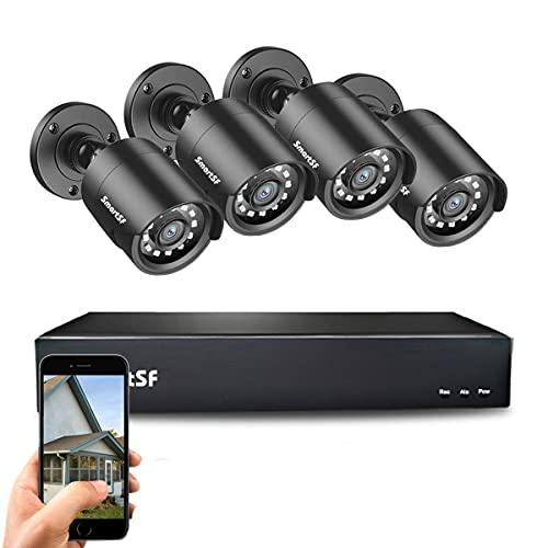 SmartSF CCTV 2.0 MP Kit de videovigilancia, 4CH 1080N HD AHD DVR 4x1080p 1500TVL Cámara de Vigilancia, con visión Nocturna, detección de Movimiento, Smartphone, PC fácil Acceso Remoto, sin HDD