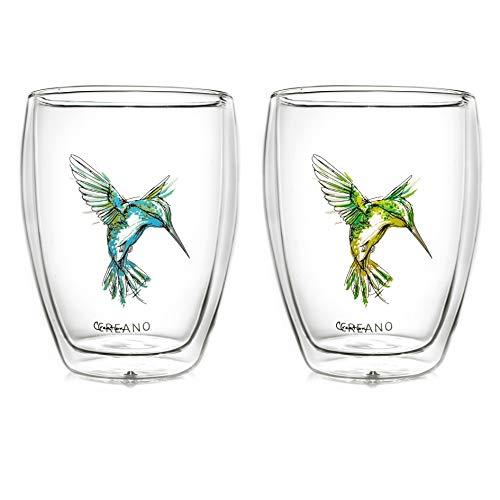 Creano doppelwandige Tee-Gläser, Cappuccino-Glas, Thermoglas Hummi im Kolibri Design, 2er Set, 250 ml in exklusiver Geschenkbox, blau/grün