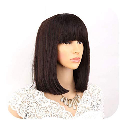 PJPPJH Perruques pour Les Femmes Cheveux Humains Demi, Droite Noir synthétique avec Frange pour Les Femmes Longueur Moyenne Cheveux Bob Perruque