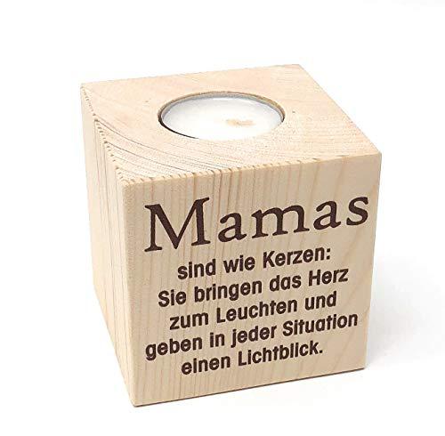 KATINGA Teelichthalter Mama 8cm - toller Kerzenständer für Mama zu Muttertag oder Geburtstag (Mama Text)