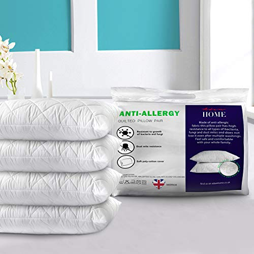 Adam Home Premium Pillows 4 Pack with Quilted Cover (4 Pack, Standard) - Filled Pillows for Side, Stomach and Back Sleeper-Hotel Quality, Down Alternative Bed Pillow-Soft Hollow-Fiber Sleeping Pillows