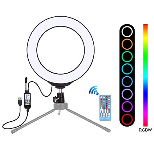 Anillo de luz de relleno USB anillo de luz LED de luz Vlogging 16cm 6.2 pulgadas regulable luces de vídeo con control remoto, RGB colorido anillo de luz, Bluetooth for conectar, for el vídeo de Youtub