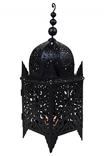 Orientalische Laterne aus Metall Schwarz Frane 80cm groß | Marokkanische Gartenlaterne für draußen, Innen als Bodenlaterne | Marokkanisches Gartenwindlicht Windlicht hängend oder zum hinstellen