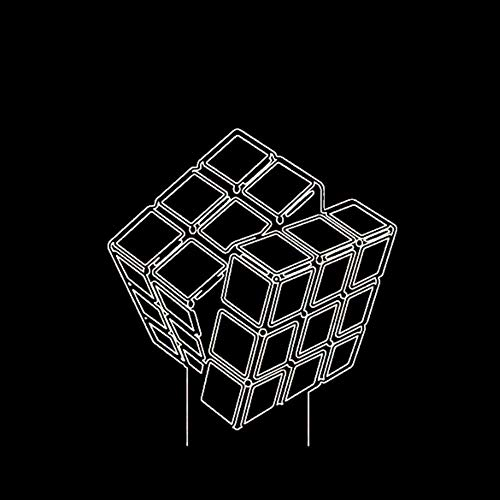Led Creative Kids Toy Gift 3D Diseño innovador Visual Rubik's Cube Modeling Night Lights 7 Colorido USB Touch Button Lámpara de escritorio