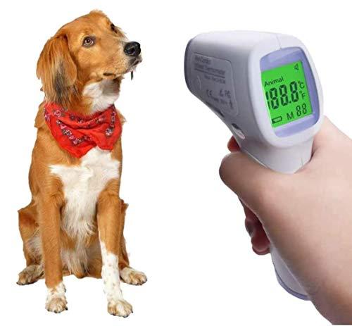 zcm Termómetro para mascotas con pantalla digital de alta precisión para mascotas, termómetro electrónico para animales, termómetro infrarrojo, lectura rápida, termómetro para gatos y perros