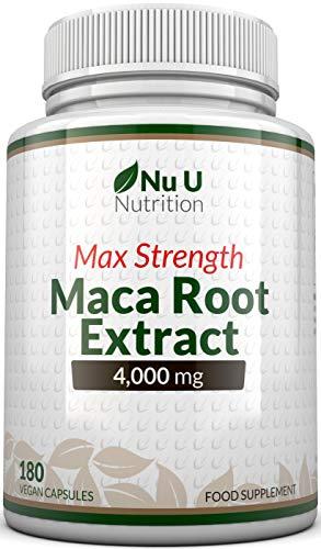 Maca Root Capsules 4000mg - 180 Vegetarian and Vegan Capsules - 6 Month Supply - High Strength Peruvian Maca Root - Made in The UK