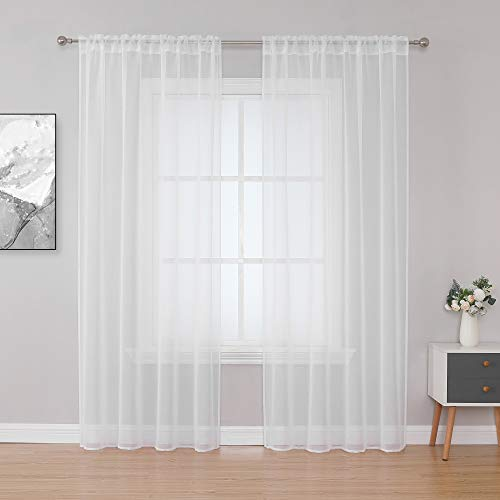 HANGSHANG Drapery Polyester Sheer Curtains for Living Room and Bedroom, Set of 2, Geometric Embroidered Translucent Curtain (White Faux Linen, 54x95)