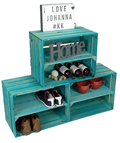 Kistenkolli Altes Land Juego de 3 cajas de vino Johanna, color turquesa