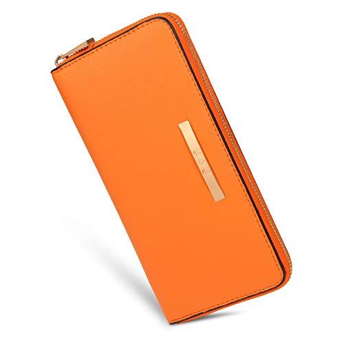 Damen Brieftasche groß langes weiches Leder Handtasche Kartentasche Einfarbig Geldbörse (Orange)