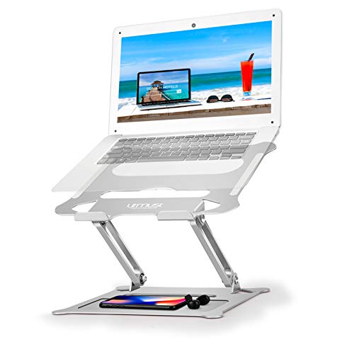Urmust Laptop Notebook Stand Holder, Ergonomic Adjustable Ultrabook Stand Riser Portable with Mouse Pad Compatible with MacBook Air Pro, Dell, HP, Lenovo Light Weight Aluminum Up to 15.6'(Silver)