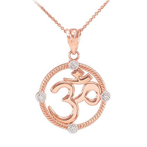 'Mujeres Collar Colgante 10ct rosa dorado Cordata Circolo Diamante hindú meditación fascino Yoga OM (Aum) (viene con una bolsa cadena de 45cm)