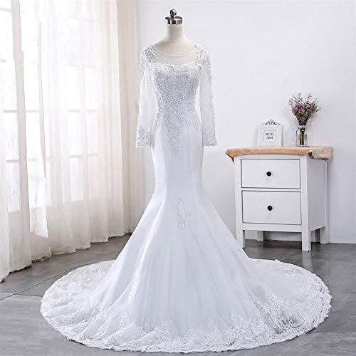 Kralen Volledige Mouwen Kant Zeemeermin Bruidsjurken Illusie Appliques Puur Wit Bruiloft Gowns Lange Mouw Bruidsjurk