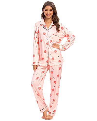 GOSO Schlafanzug Damen Pyjama Set - Knopfleiste Damen Schlafanzug mit Blumenmuster Langarm Zweiteilige Nachtwäsche Soft Lounge Sets
