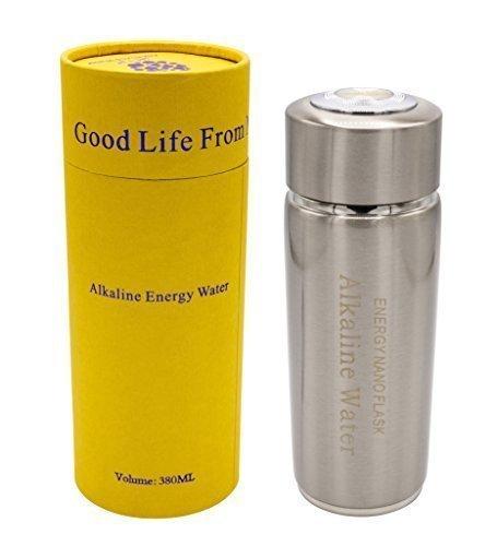 frasco de agua alcalina taza de plata sanitaria