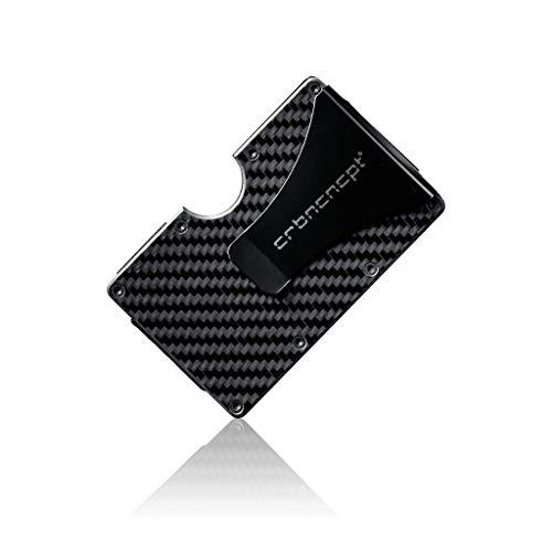 CRBNCNCPT® Carbon Kartenetui mit hochwertiger Geldklammer aus Aluminium - Visitenkartenetui - Card Holder Herren - RFID Schutz - Schwarz (Carbon)