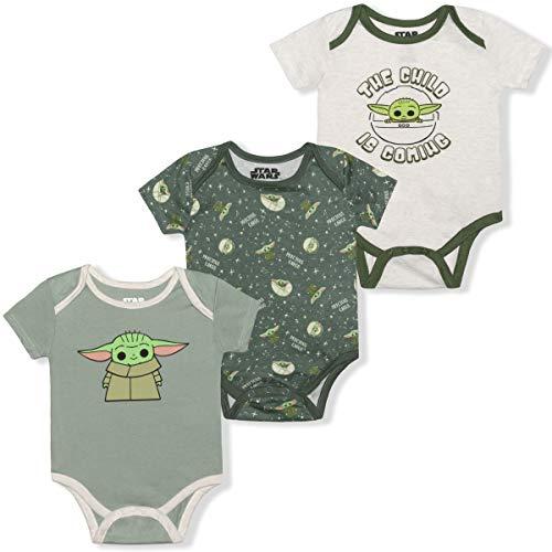 STAR WARS 3 Pack Short Sleeve Onesie, The Child is Coming Romper Set, Baby Yoda Bodysuit, Size 3M Green