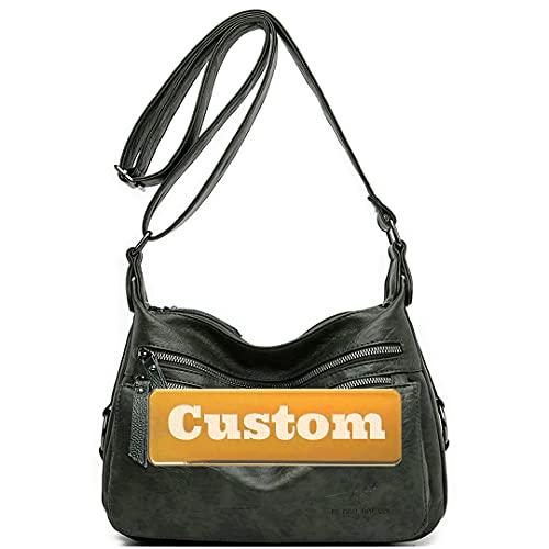 RXDZ Correas de nombre personalizadas para bolso cruzado de cuero negro para hombro (color verde, tamaño: talla única)