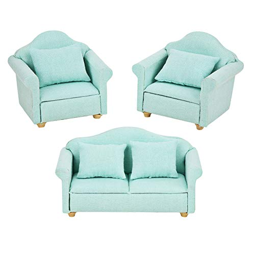 YOUTHINK Poltrona Miniatura Divano 1:12 Mini Doll House Sofa Set di Poltrone in Miniatura Mini Dollhouse Accessory per Mobili Camera da Letto Toy 3Pz (Verde Matcha)