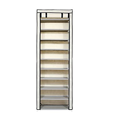 "Homebi 10-Tier Shoe Rack 30 Pairs Shoe Tower Closet Shoes Storage Cabinet Portable Boot Organizer with Dustproof Non-woven Fabric Cover and 10 Durable Shelves,24.2""W x 12.4"" D x 68.3""H (Beige)"