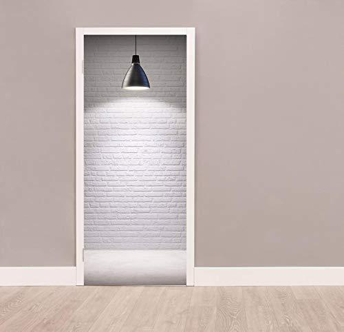 QQFENG Puerta Pegatinas Mural Imagen De Pegatinas De Puerta Creativas 3D Lámpara De Concha Negra Sala De Estar Papel Pintado Puertas Autoadhesivo 95 x 215 cm