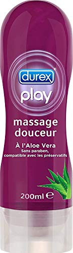 Durex Gel de Massage et Gel Lubrifiant à base d'eau - aux extrait d'Aloe Vera - 200 ml