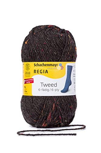 Schachenmayr Regia Handstrickgarne Schachenmayr Regia 6-Fädig Uni Tweed, 50G Anthrazit