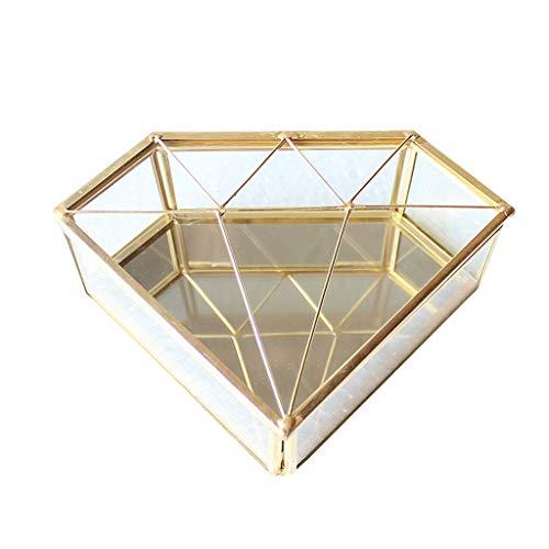 Luckyl Caja de Forma de Diamante Caja de Almacenamiento de Joyas de Vidrio Collar de Anillo Tocador Caja de Vidrio Transparente de Maquillaje