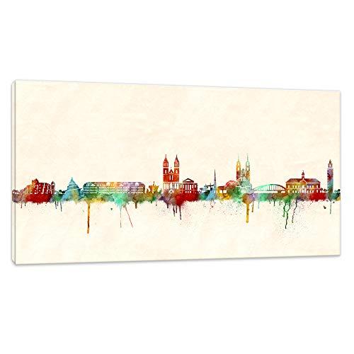 Kunstbruder Magdeburg Skyline (div. Größen) - Kunst Druck auf Leinwand 30x60cm