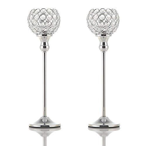 VINCIGANT Kristall Deko Kerzenhalter, Kerzenständer Silber für Weihnachtsdeko Tisch, 2er Set 38cm Höhe