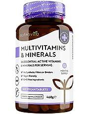 Multivitaminen en Mineralen - 365 Vegan Multivitaminen Tabletten - 1 Jaar Voorraad - 26 Essentiële Actieve Vitaminen en Mineralen voor Mannen en Vrouwen - Gemaakt in het VK door Nutravita