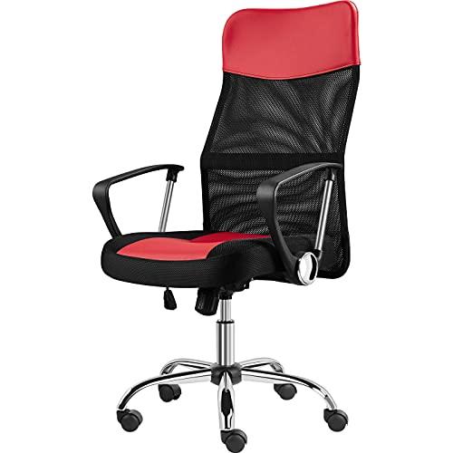 Yaheetech Bürostuhl ergonomischer Schreibtischstuhl Computerstuhl, 360° Drehstuhl, Chefsessel mit kopfstütze, Hohe Netzrückenlehne, bis 135 kg belastbar für's Büro oder Home-Office Grau