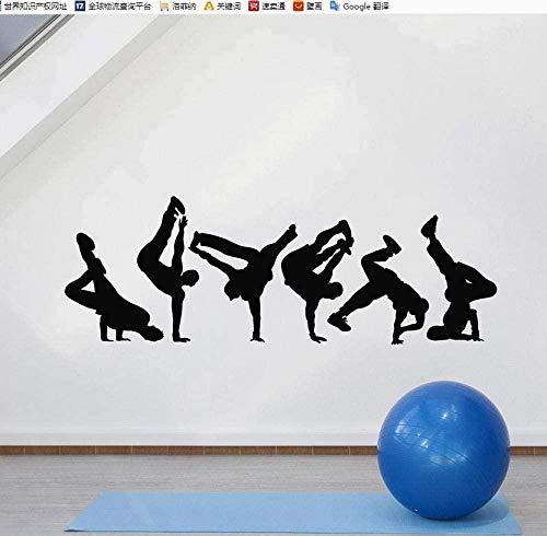 Pegatinas De Pared Break Dance Tatuajes De Pared Silueta Bailarina De La Calle Sala De Baile Dormitorio Adolescente Decoración Para El Hogar Vinilo Ventana Pegatinas Creativo Mural 57X20cm