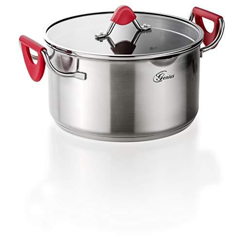 Genius Steelfit PRO 500 Koch-Topf Ø 24 cm inkl. Glasdeckel Edelstahl mit Aluminiumkern für Kochen auf höchstem Niveau Suppen-Topf antihaftbeschichtet induktion