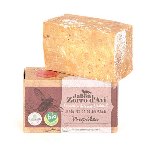 Jabón Zorro D'Avi   Jabón Natural Ecológico de Propóleo   120 gr   para Pieles Extremadamente Sensibles   Jabón Biodegradable Zero Waste   Jabón Facial y Corporal   Fabricado en España