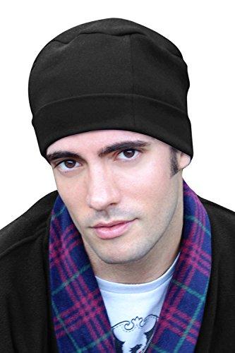 Mens Sleep Cap - 100% Cotton Night Cap for Men - Sleeping Hat Black