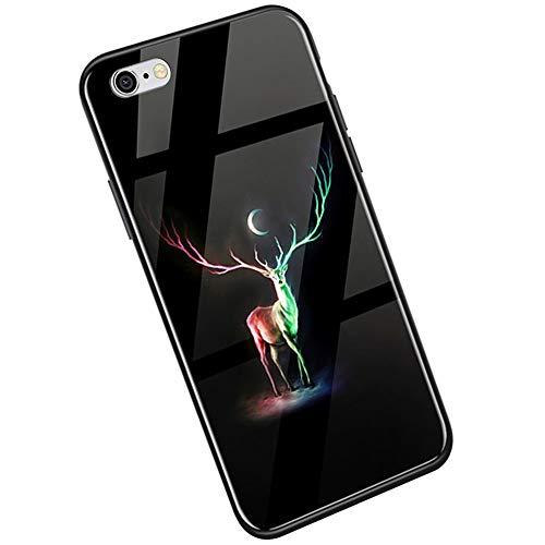 Kompatibel mit iPhone 6S Plus Hülle, iPhone 6 Plus Hülle,Ysimee Handyhülle [Leuchtend Luminous] Gehärtetes Glas Rückseite und TPU Hülle Case Ultra Dünn Kratzfeste Schutzhülle, Hirsch