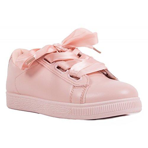 primtex Sneaker da Donna con nastro in satin, in similpelle , Rosa (Rose), 39 EU