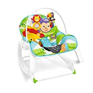 Rocker grows with your baby from infant to toddler (up to 40 lb/18 kg) Deep comfy seat & reclining seat back with calming vibrations to help soothe baby Removable toy bar with toucan clackers & lion rollerball Foldout kickstand for stationary s...