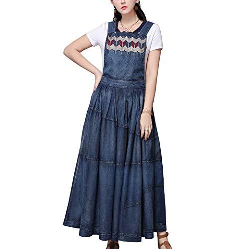 E-girl Damen Bestickt Swing Jeanskleid Ohne Arm Kleid,DA82207,Blau,L