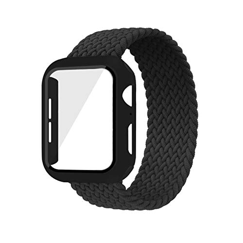 CGGA Case+strap For Apple Watch Band 44mm 40mm 42mm 38mm bracelet Fabric Nylon Braided Solo Loop strap series 6 se 5 4 3, (Band Color : Black, Size : 40mm)